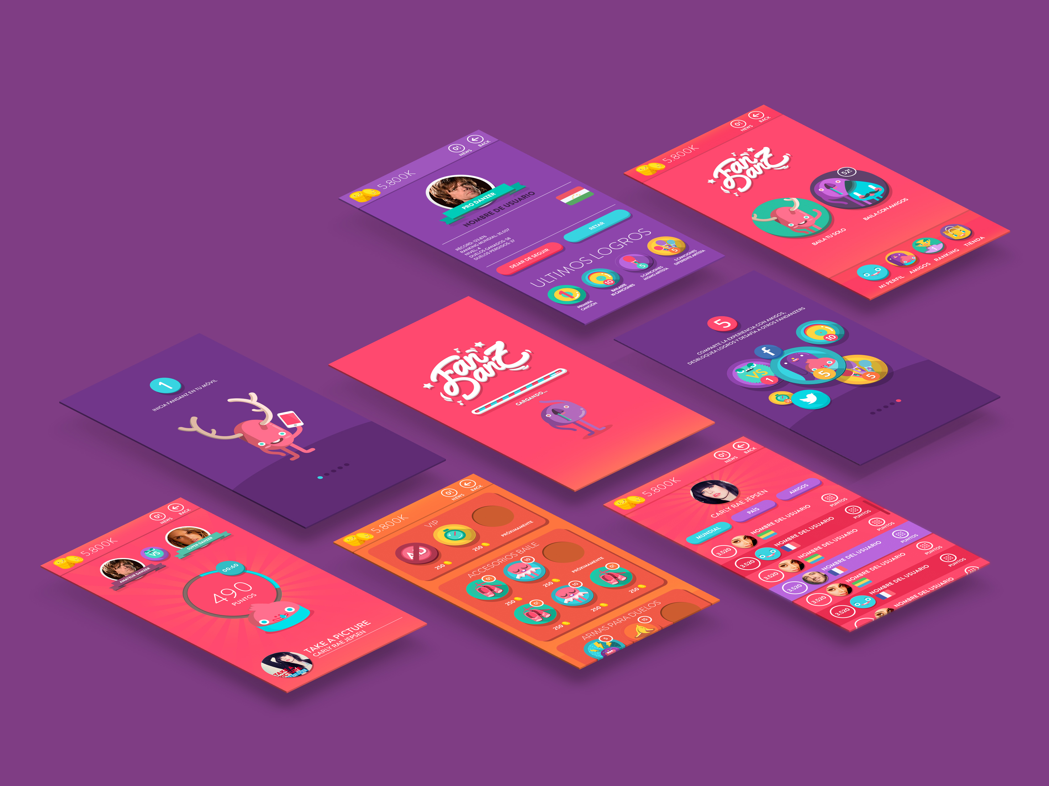 FanDanz Branding & App Design, Proyecto por The Woork Co